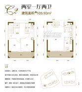 汇金壹号·孔雀湾==两室一厅两卫105.93㎡