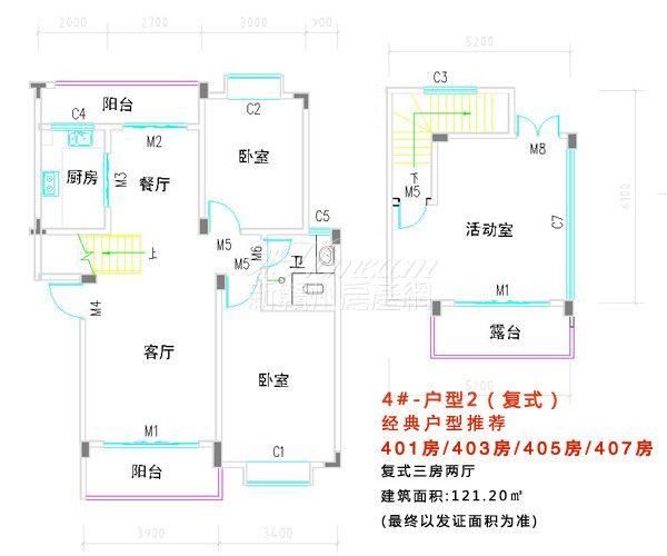 跨越·帝怡江景三期==4#楼户型2(复式)-1
