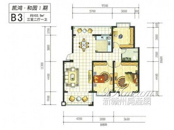 三室两厅一卫平面图 三室两厅两卫装修图 三室两厅一卫平面图
