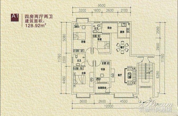 140四房两厅两卫户型图