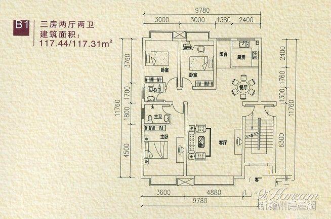 金域东方==B1-三房两厅两卫