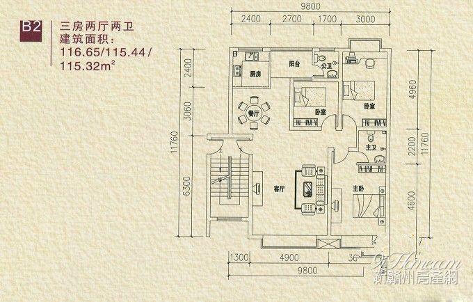 金域东方==B2-三房两厅两卫