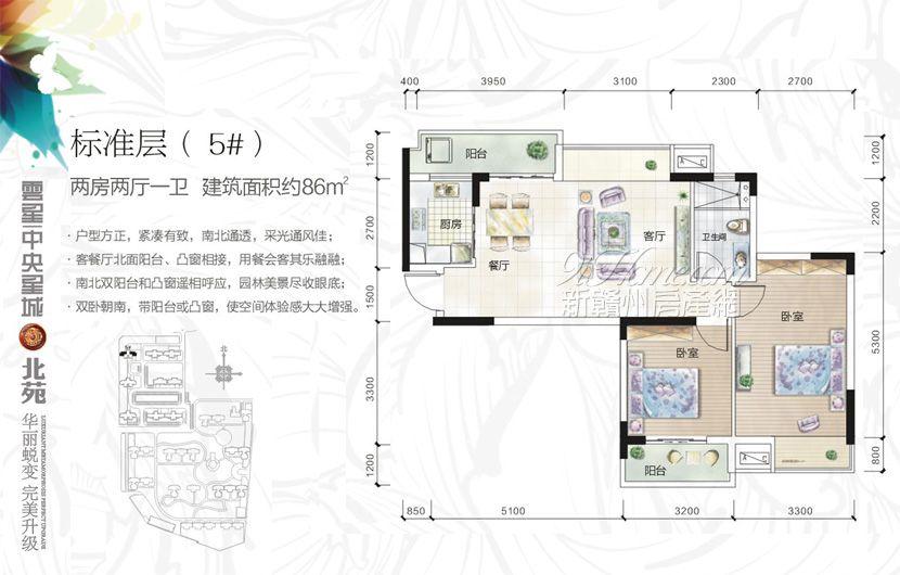 云星·中央星城==5#户型-两房两厅一卫1