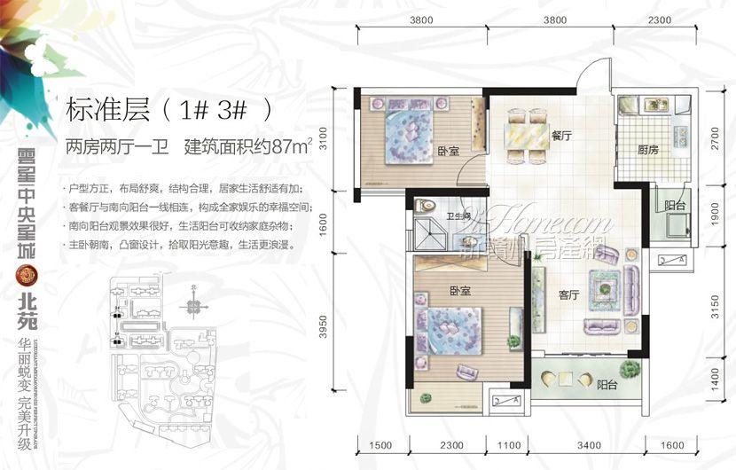 云星·中央星城==1#-3#户型-两房两厅一卫2