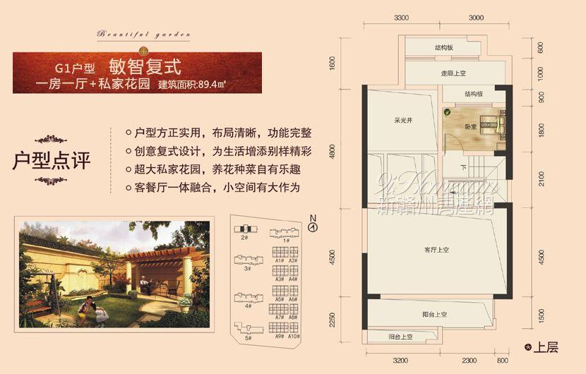 龙祥·城南花园==G1户型复式上层-一房一厅