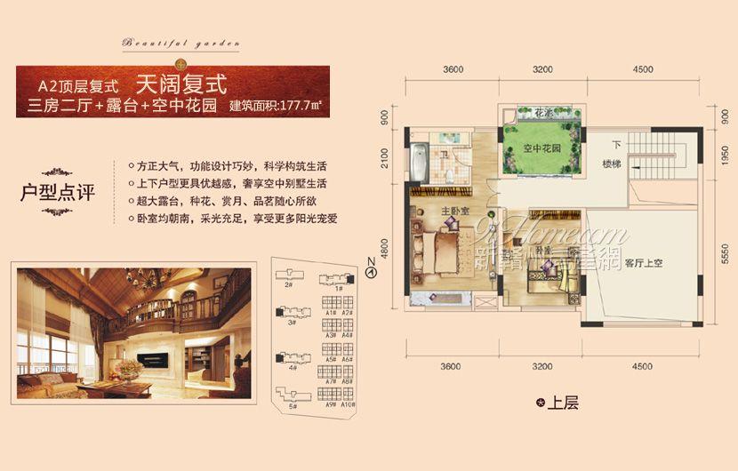 龙祥·城南花园==A2户型复式上层-三房二厅