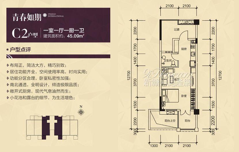 弘毅·金桥国际==C2户型-一室一厅一厨一卫