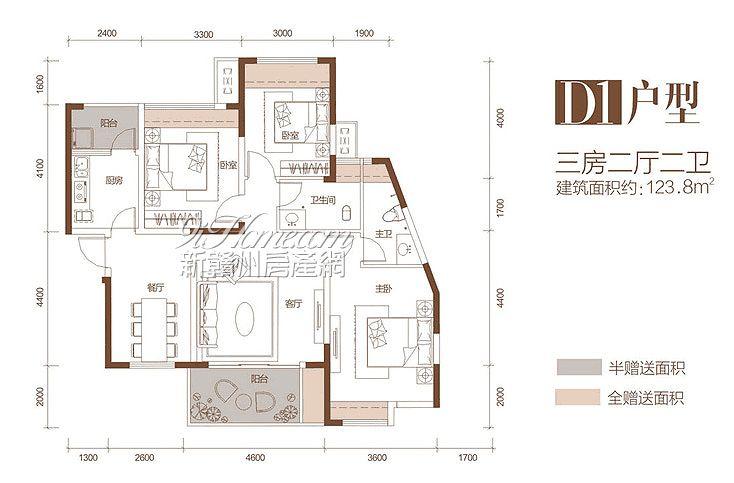 起点·壹中心==D1户型-三房二厅二卫