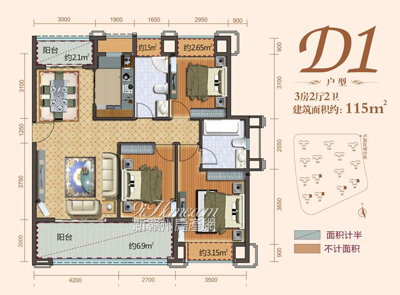 丽景江山==D1-三房两厅两卫